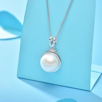 京潤珍珠 小時光 摩洛哥風情系列 簡約大方 11-12mm 白色 銀S925淡水珍珠吊墜