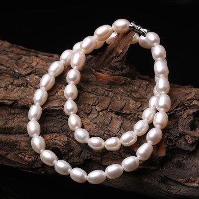 母亲节礼物 盈满堂 天然淡水珍珠椭圆形项链