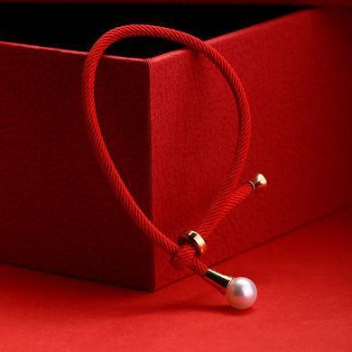 風下Hrfly 天然珍珠手鏈 8-9mm 皮光亮 正圓無暇 設計師款本命年紅繩手鏈 轉運手鏈女 可調節