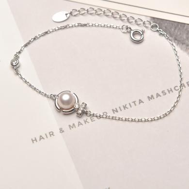京润珍珠 流绚 摩洛哥风情系列 甜美可爱 银S925白色淡水珍珠手链