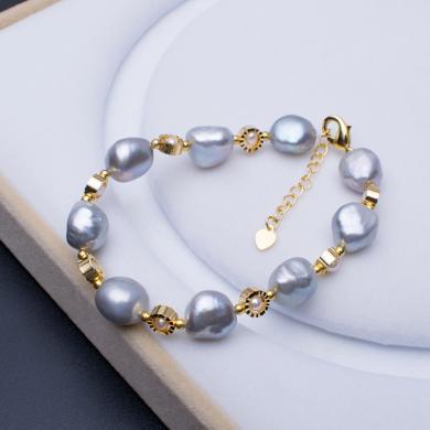风下Hrfly风尚珍珠 巴洛克异形珍珠不规则手链 烟灰色 清新气质