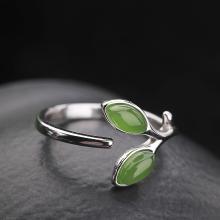 风下Hrfly   925银镶和田玉戒指女 可调节天然碧玉戒指  附高档包装