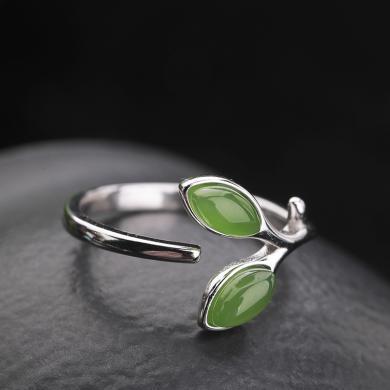 風下Hrfly   925銀鑲和田玉戒指女 可調節天然碧玉戒指  附高檔包裝