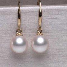 雅丹妮 18k金淡水珍珠耳环 白色正圆强光9-9.5MM 百搭款配鉴定证书