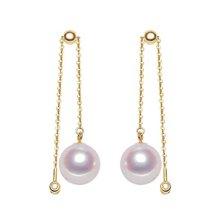 雅丹妮18k黄金8-8.5MM日本akoya海水珍珠耳环 镶嵌钻石 可调节一款多带 配鉴定证书