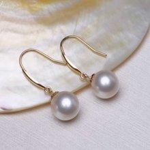 雅丹妮 18k金淡水珍珠耳环 白色正圆强光8-8.5MM 百搭款配鉴定证书