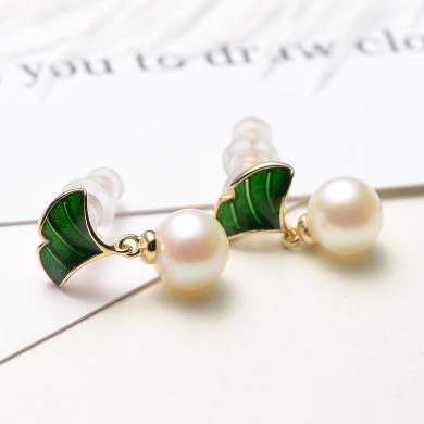京潤珍珠翠濃 7-8mm圓S925銀鑲白色淡水珍珠耳釘 配綠琺瑯 銀泰同款