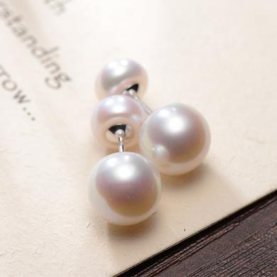 京润珍珠简雅 S925银镶白色淡水珍珠耳钉 8-11mm馒头形 银泰同款