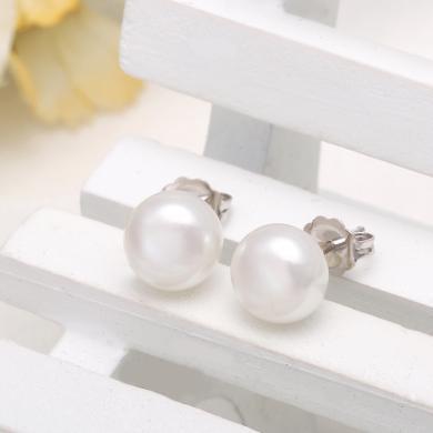 京润珍珠惬意 淡水珍珠耳钉耳饰时尚简约 7-8mm