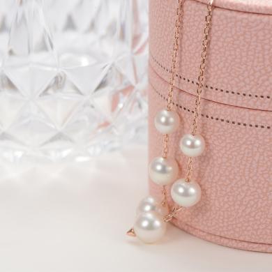 京润珍珠伶俐 5-8mm圆形 S925银镶时尚淡水珍珠耳线耳饰 银泰同款