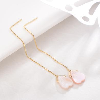 京潤心愉 S925銀鑲貝殼耳線心形貝殼簡約耳釘粉色女友 銀泰同款