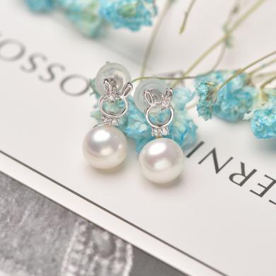 京潤珍珠 守護系列 簡約可愛 銀S925淡水珍珠耳釘