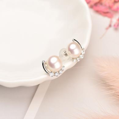 京润珍珠 洛可可  秘密花园系列 简约时尚 银S925白色淡水珍珠耳钉