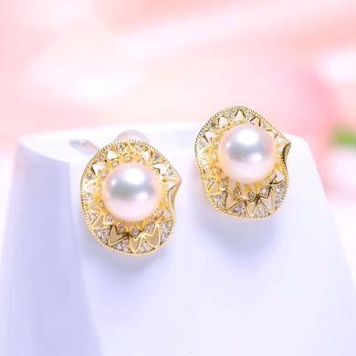 風下Hrfly 新款珍珠耳釘 8.5-9mm天然強光珍珠  925銀鍍金荷葉款 附高檔包裝-白色
