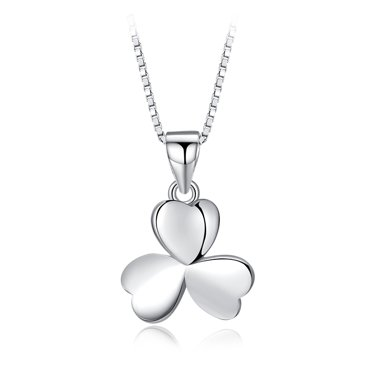 ARMASA阿瑪莎S925銀項鏈女鎖骨鏈簡約時尚學生禮物愛情禮物三葉草吊墜頸鏈銀飾品禮物