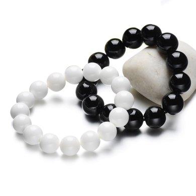 衡潤 瑪瑙手鏈 硨磲黑瑪瑙情侶手鏈一對 瑪瑙手串 男女水晶手鏈 套裝12mm情人節禮物 HR00331