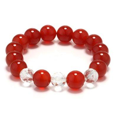 衡潤 紅瑪瑙手鏈 白水晶手鏈 百媚千紅12mm女 佛珠手串 本命年飾品
