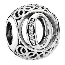 PANDORA 潘多拉 925银+锆石银色复古字母O串珠791859CZ(1)