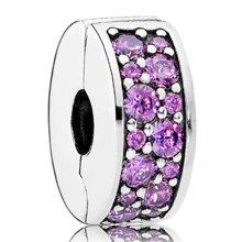 PANDORA 潘多拉 紫色闪烁优雅925银硅胶固定夹791817CFP(1)
