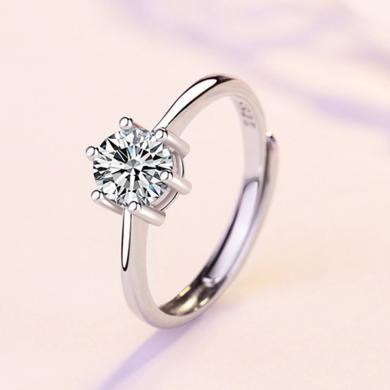 ARMASA阿瑪莎 925銀經典六爪戒指鑲鋯石可調節指圈 時尚流行飾品生日送女朋友