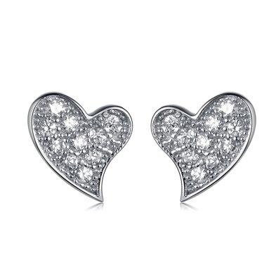 衡潤 心動耳釘925銀 韓版微鑲鋯石耳飾女 氣質銀飾HR12E3030