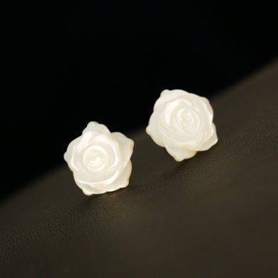 妍韻珠寶 925銀貝殼花耳釘 白玫瑰PL00005