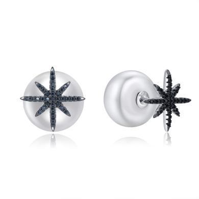【香港直郵 包郵包稅】ZIVI丹麥至未 白貝黑晶pearl耳釘 1300128