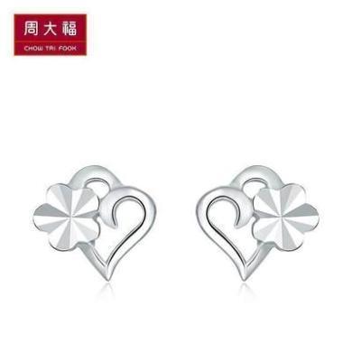 周大福珠寶首飾心形車花925銀耳釘AB35093