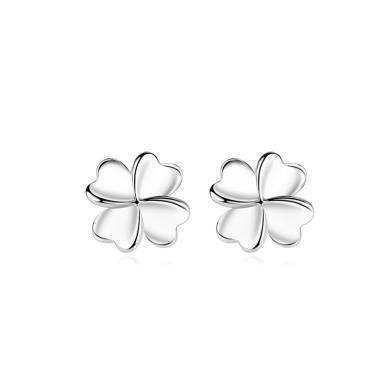 ARMASA阿瑪莎 925純銀耳釘耳環簡約氣質女幸福四葉草耳釘 銀飾送情人女友老婆閨蜜禮物
