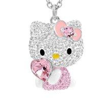 施华洛世奇 SWAROVSKI Hello Kitty粉色爱心水晶吊坠项链5228241