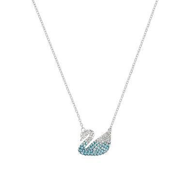 施華洛世奇2019秋冬新款 藍色漸變藍天鵝水晶項鏈5512095大號漸變天鵝送女友禮物