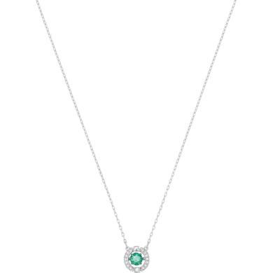 【支持購物卡】Swarovski施華洛世奇 SPARKLING DC跳動的心躍動晶彩鎖骨項鏈 38cm 圓形掛墜 銀鏈綠鉆-圓形