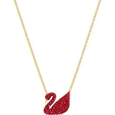【支持購物卡】Swarovski施華洛世奇 【送女友禮物】ICONIC SWAN女士天鵝鎖骨項鏈 大號 紅/金