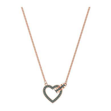 【支持購物卡】Swarovski施華洛世奇 LOVELY 女士心心相扣浪漫愛心鎖骨項鏈 42cm 灰色/粉金色