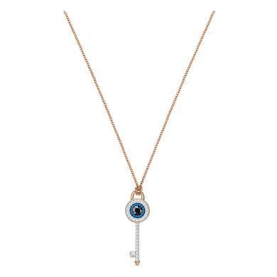 【支持購物卡】Swarovski施華洛世奇 DUO氣質Y型項鏈鎖骨鏈女首飾 送女友禮物 粉色金 鑰匙