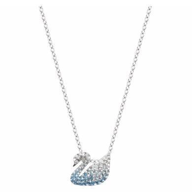 【支持購物卡】Swarovski施華洛世奇 ICONIC SWAN女士天鵝鎖骨項鏈 小號 1*1 藍色漸變