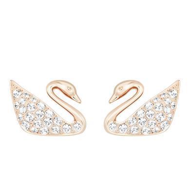 【支持购物卡】Swarovski施华洛世奇 Swan Mini穿孔天鹅耳环 玫瑰金色5144289