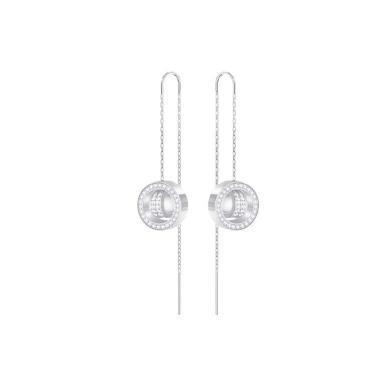 【支持購物卡】Swarovski施華洛世奇 HOLLOW CHAIN 女士鑲鉆圓環耳線穿孔耳環 銀色5349356