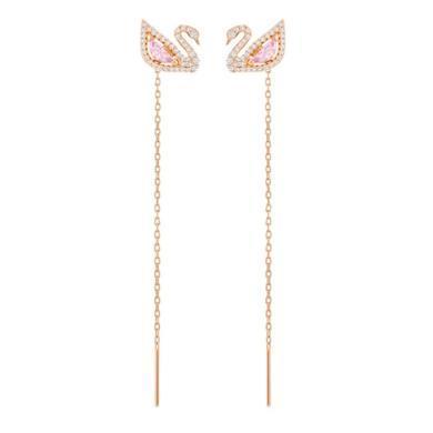 【支持購物卡】Swarovski施華洛世奇 DAZZLING SWAN 女士浪漫胭脂粉水滴天鵝長線穿孔耳環 8cm 粉色金5469990