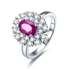 金兴福 S925银镶红宝石戒指开口可调节指圈 时尚贵气  附证书