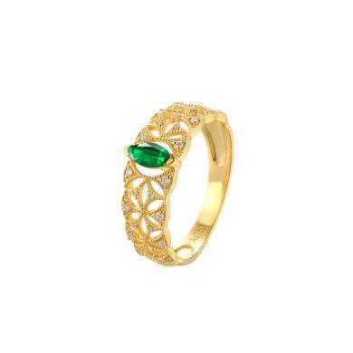 Cerana 宮廷風18K金祖母綠戒指蕾絲戒指鉆戒婚戒 定制