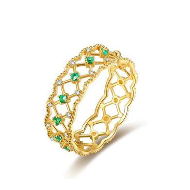 Cerana 18K金祖母綠戒指蕾絲戒指鉆戒婚戒