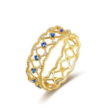 Cerana 18K金蓝宝石戒指蕾丝戒指钻戒婚戒