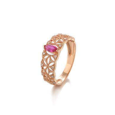 Cerana 宮廷風18K金紅寶石戒指蕾絲戒指鉆戒婚戒 定制