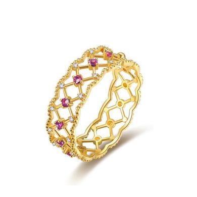 Cerana 18K金紅寶石戒指蕾絲戒指鉆戒婚戒