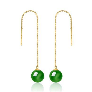 ARMASA阿玛莎18K黄金天然和田碧玉菠菜绿老坑料耳线耳环(附证书1-2个工作日发货)