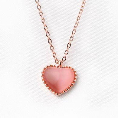 盈滿堂 925銀粉色貓眼石桃心項鏈女款甜美主桃花鎖骨鏈