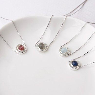 盈满堂 天然月光石水晶创意DIY银饰简约锁骨链女款魔幻星球