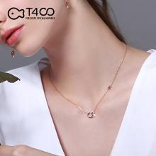 T400字母項鏈女純銀鎖骨鏈鑲嵌施華洛世奇鋯石潮網紅簡約彩金吊墜 B2595