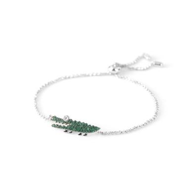 【支持购物卡】APM Monaco纯银镶薄荷绿小鳄鱼手链 AB3522XKG